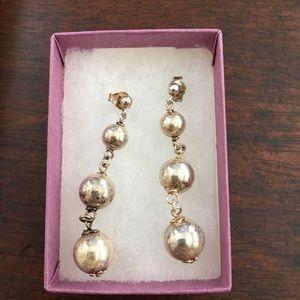 Sterling silver 3 ball drop earrings
